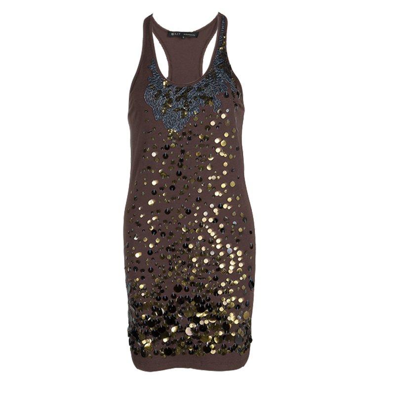 Barbara Bui Brown Cotton Embellished Tank Dress S