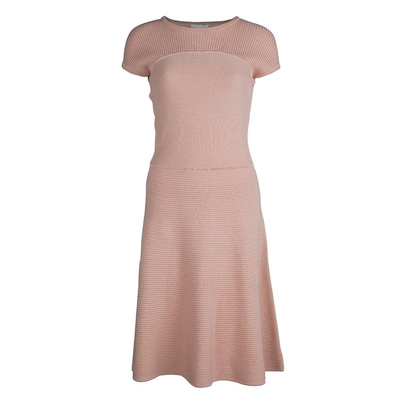 Buy Boss By Hugo Boss Blush Pink Textured Knit Paneled Flared Dress ... f3ff1e31a2