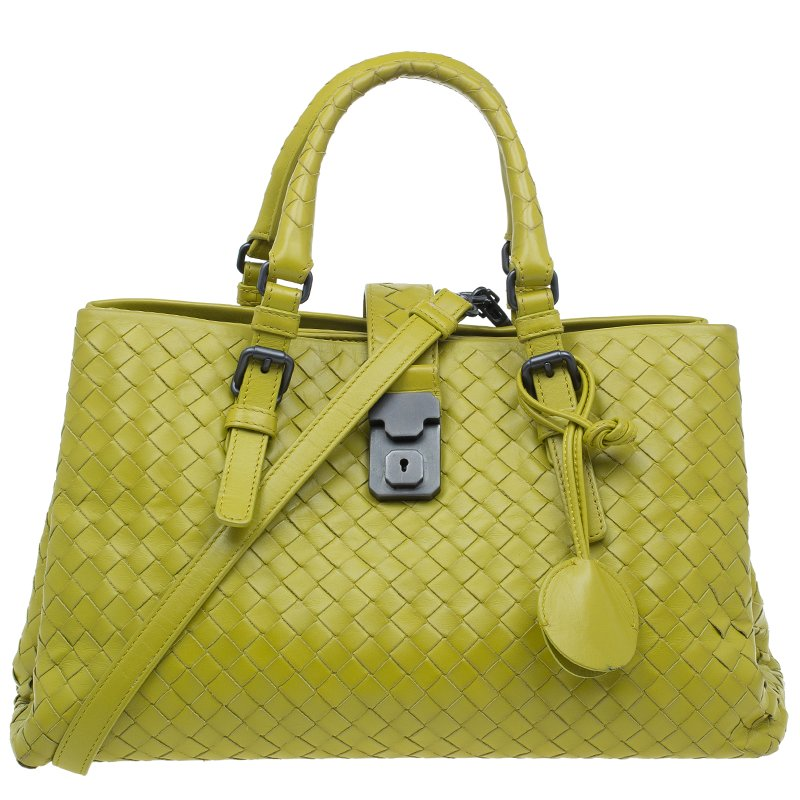 bf1bd14faa ... Bottega Veneta Lime Green Intrecciato Woven Leather Small Roma Tote Bag.  nextprev. prevnext