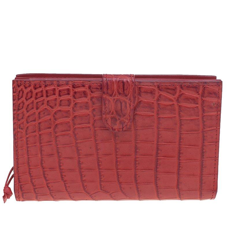 Bottega Veneta Red Croc Embossed Fume Wallet