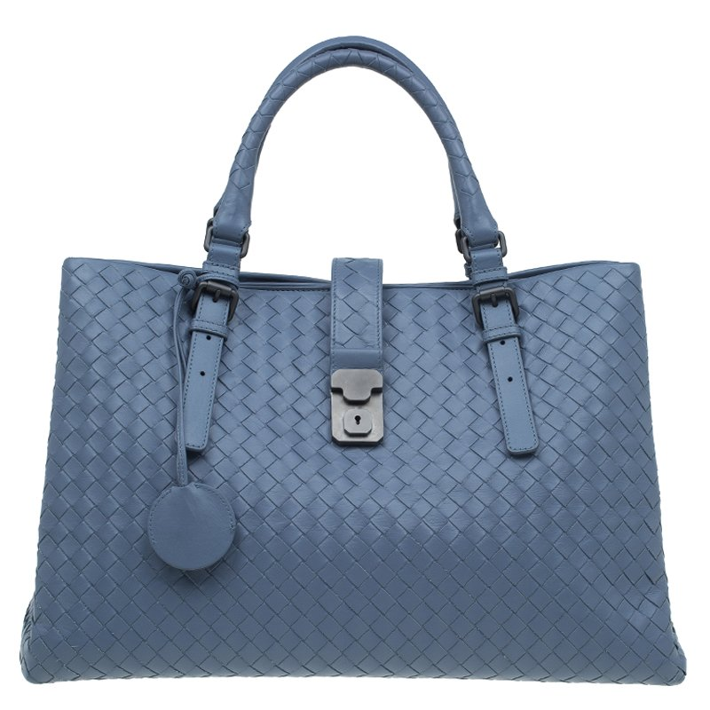 ... Bottega Veneta Slate Blue Intrecciato Woven Leather Roma Tote.  nextprev. prevnext 01f64c773cb9d