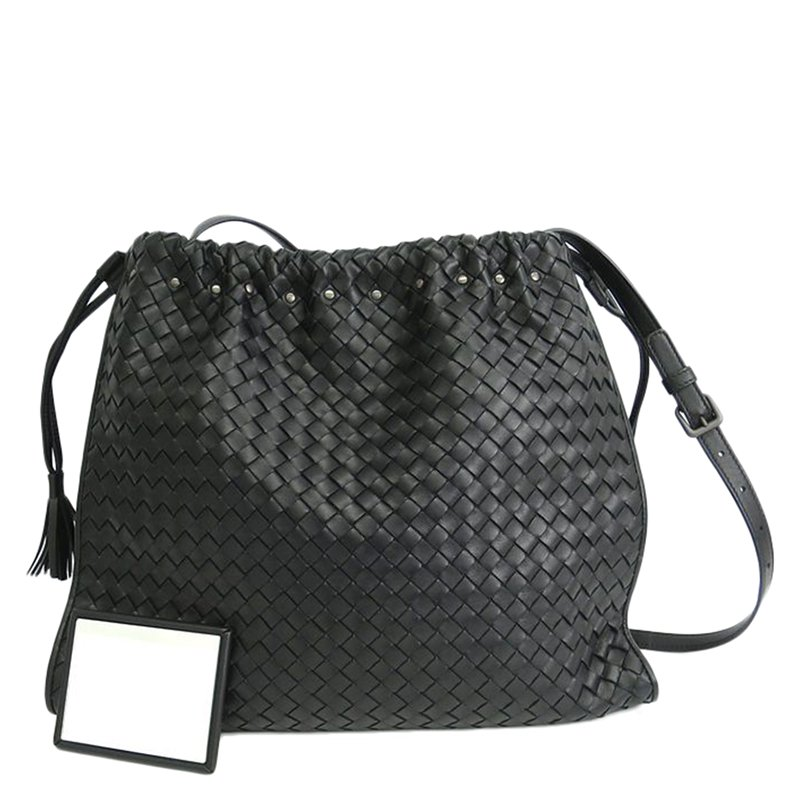 bb7d4368da ... Bottega Veneta Black Intrecciato Woven Nappa Leather Large Crossbody Bag.  nextprev. prevnext