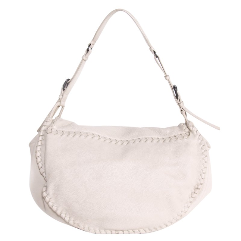 94228e46f8 Buy Bottega Veneta White Cervo Flap Shoulder Bag 69259 at best price ...