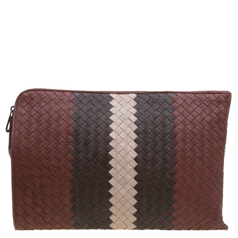 67b326c82433 ... Bottega Veneta Tricolor Leather Large Intrecciato Stripe Clutch.  nextprev. prevnext