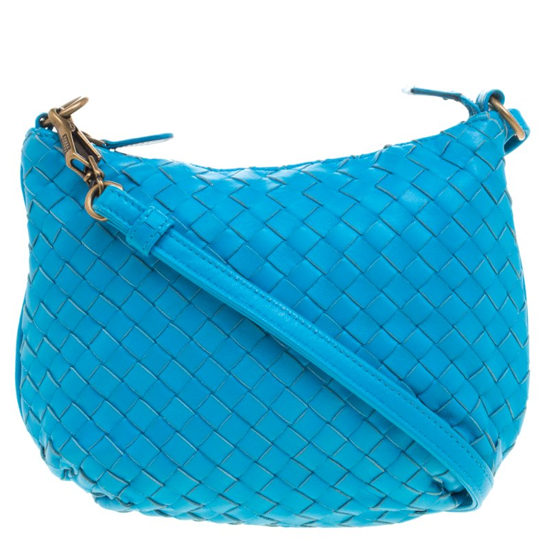 Buy Bottega Veneta Deep Sky Blue Intrecciato Leather Drop Shoulder ... 338a1d149fe4