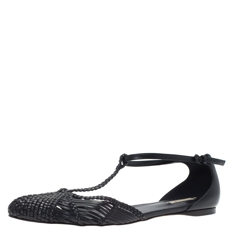 2fced2e40 ... Bottega Veneta Black Woven Leather T Strap Ballerina Flats Size 39.  nextprev. prevnext