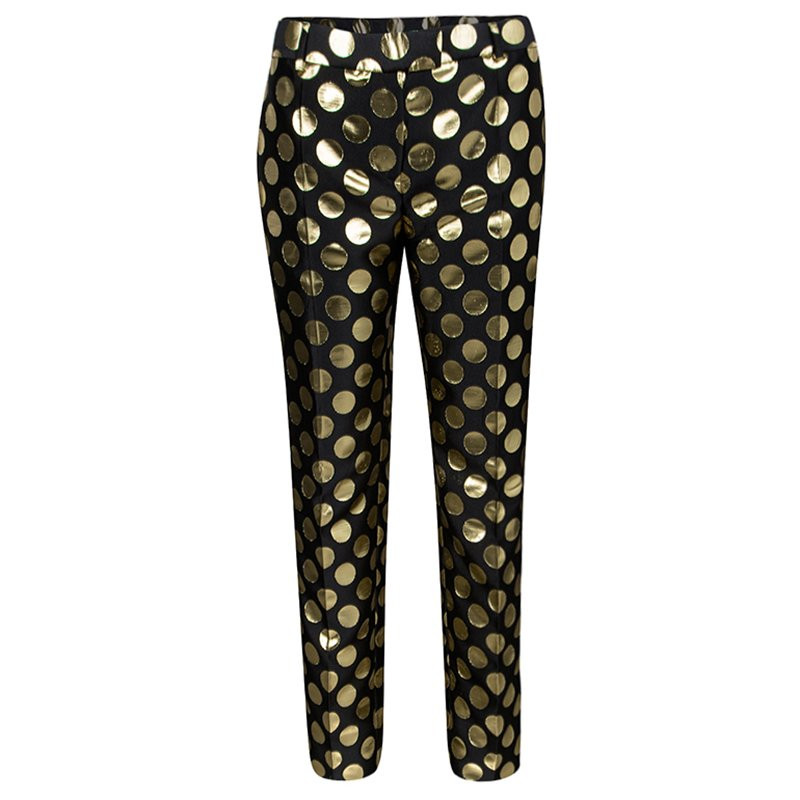 Boutique Moschino Black and Gold Foil Polka Dot Pants M