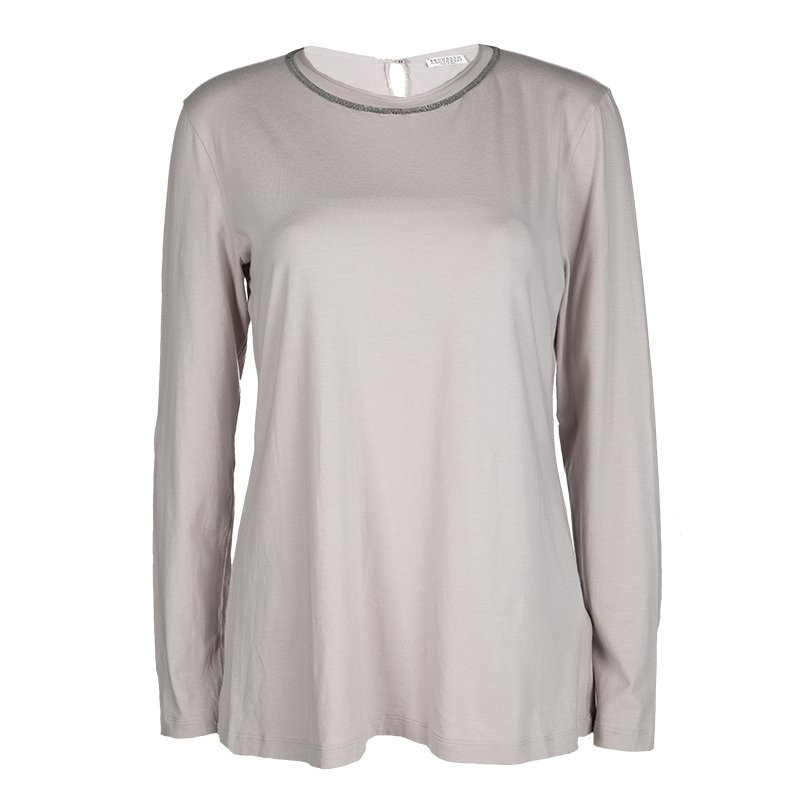 Brunello Cucinelli Grey Cotton Embellished Neck Detail Long Sleeve Top XXL