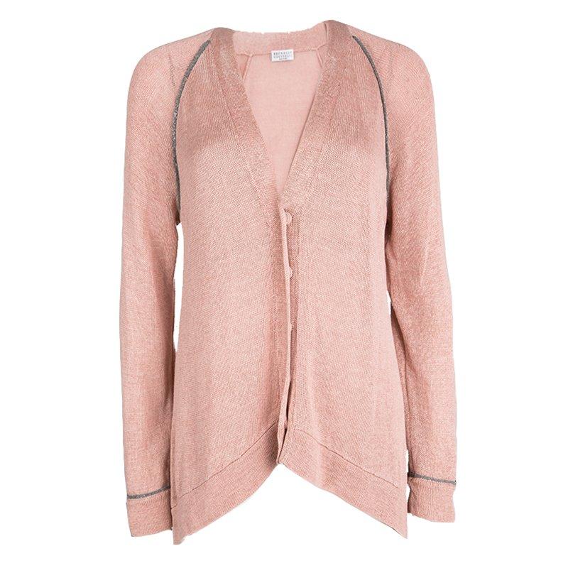 44eb1c48bb Brunello Cucinelli Pink Cotton Knit Beaded Trim Detail High Low Cardigan L