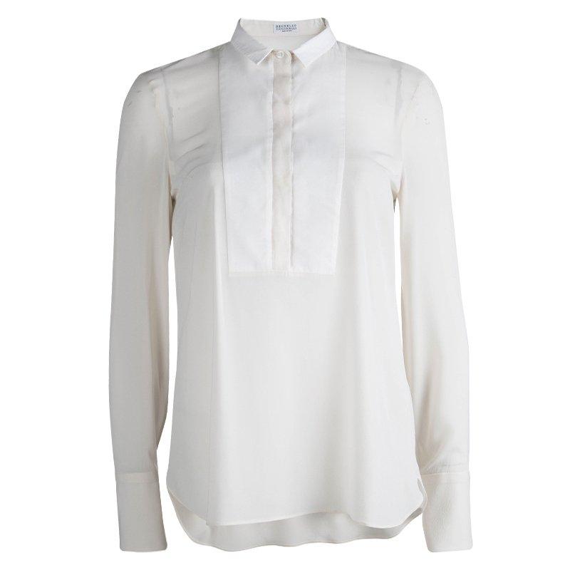 Brunello Cucinelli Cream Silk Yoke Detail Long Sleeve Blouse S