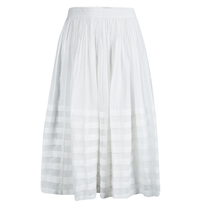 3390c759ef Buy Burberry Brit White Cotton Gathered Skirt L 90539 at best price ...
