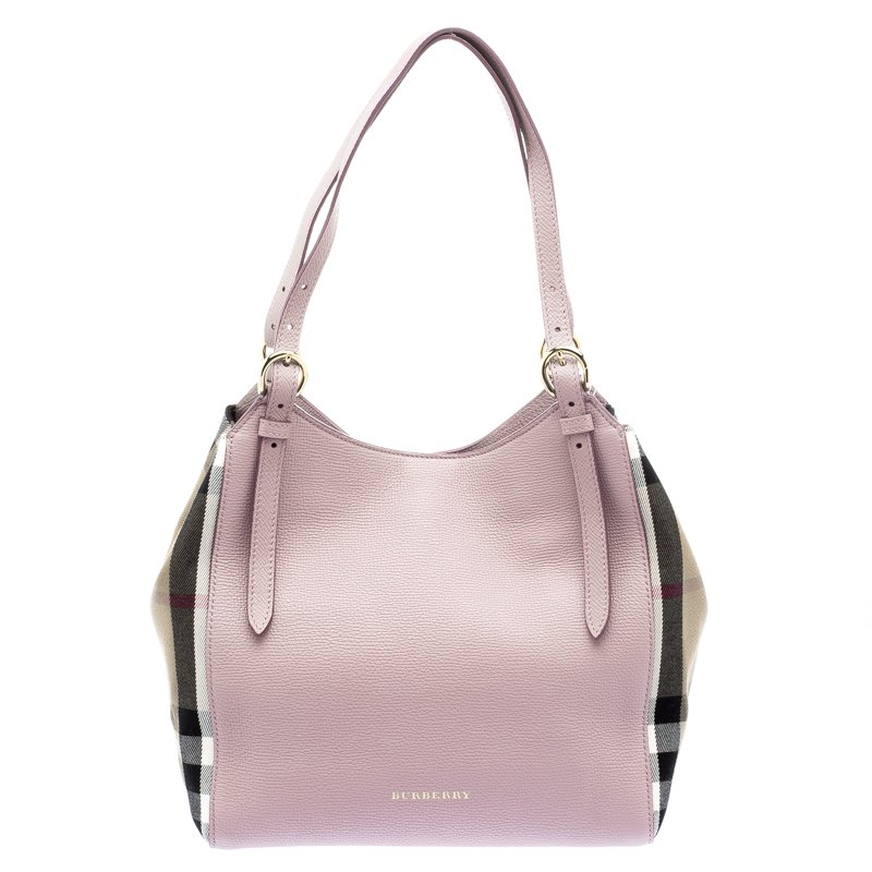 85bfee696d43 ... Burberry Pale Orchid House Check Derby Leather Small Canterbury Tote.  nextprev. prevnext