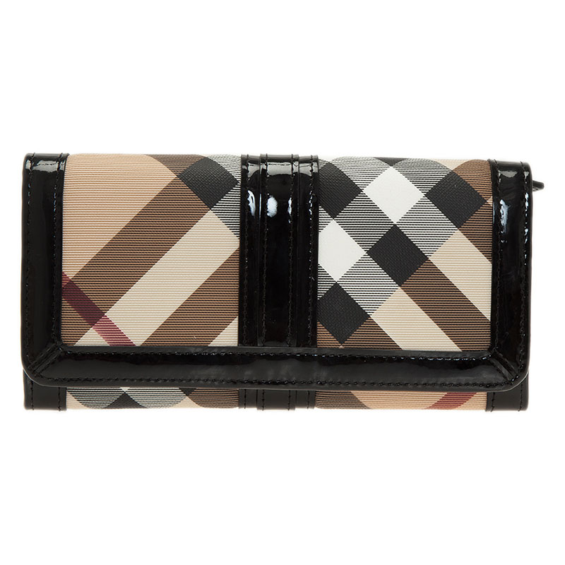 b5aef3cd8cd3 Buy Burberry Black Novacheck Canvas and Patent Leather Penrose ...