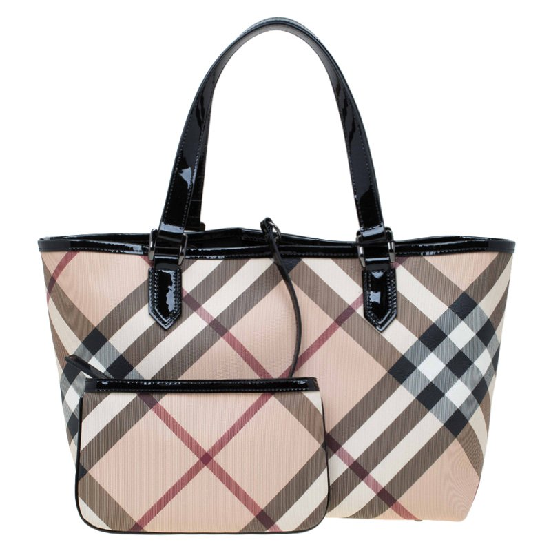 012a393f6127 ... Burberry Beige Black Nova Check Coated Canvas Nickie Tote. nextprev.  prevnext