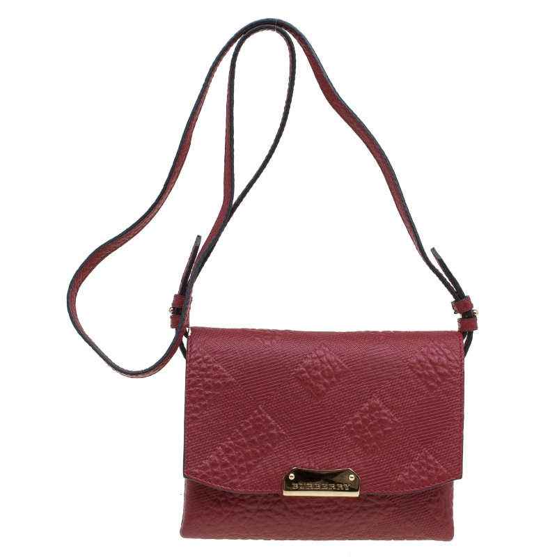 6255610105f3 ... Burberry Red Embossed Check Leather Small Langley Crossbody Bag.  nextprev. prevnext