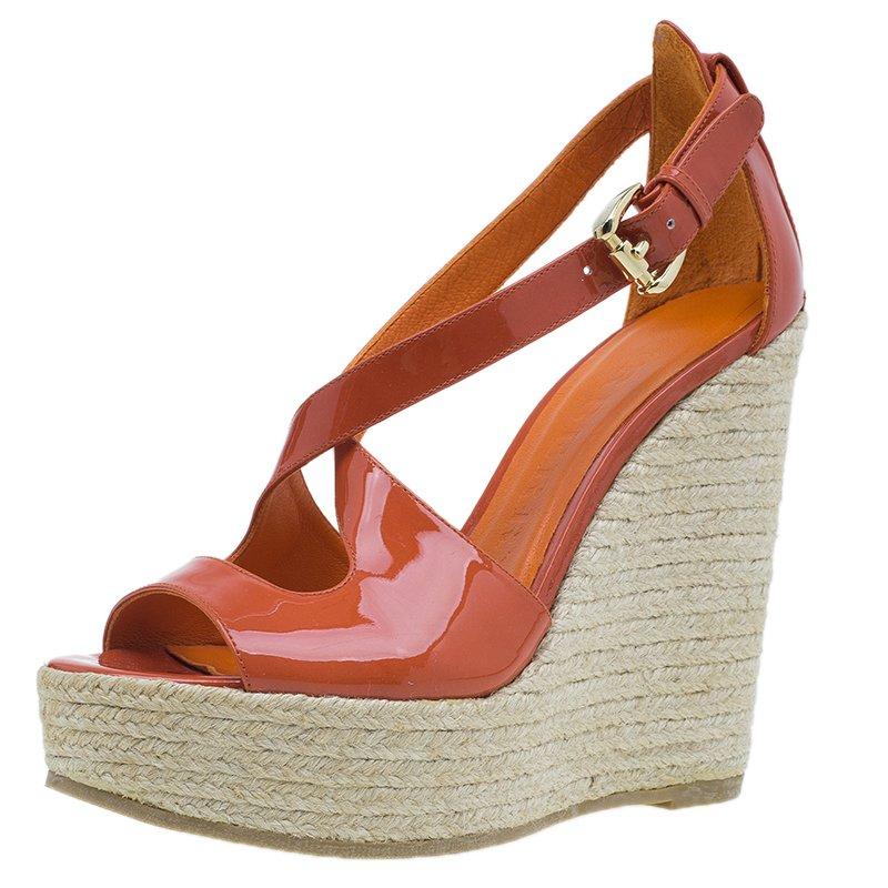 67bc5388754 Burberry Orange Patent Leather Abbott Espadrille Wedges Size 36.5