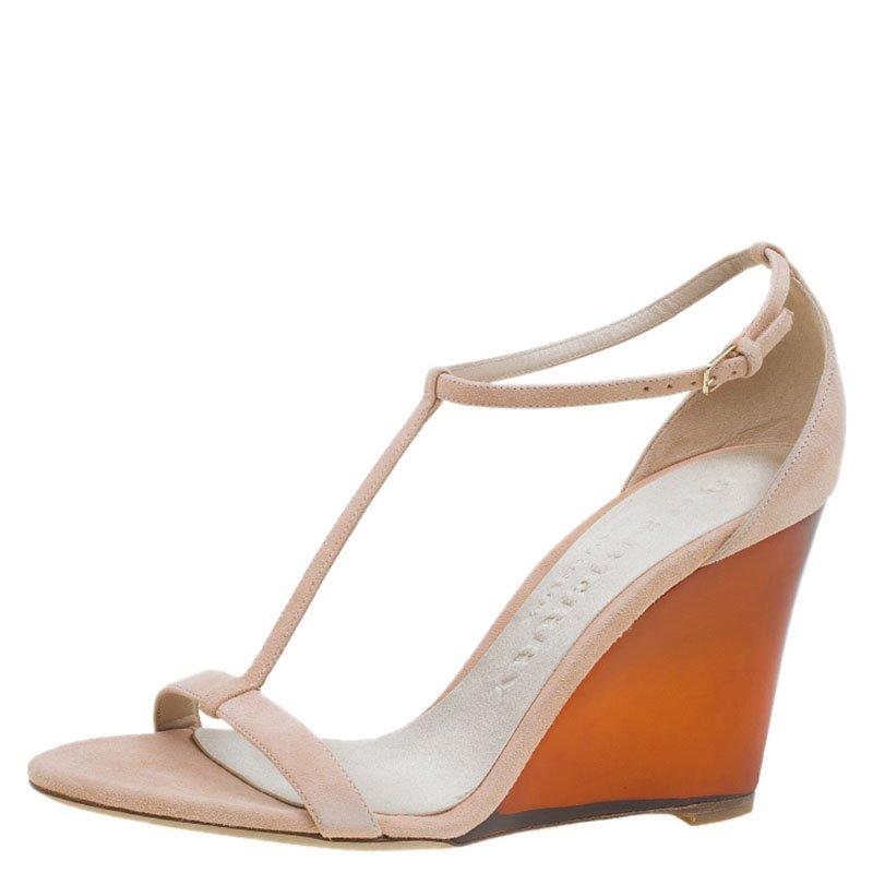 66ed14e7b23 ... Burberry Blush Pink Suede Leyburn Lucite Wedge Sandals Size 40.  nextprev. prevnext