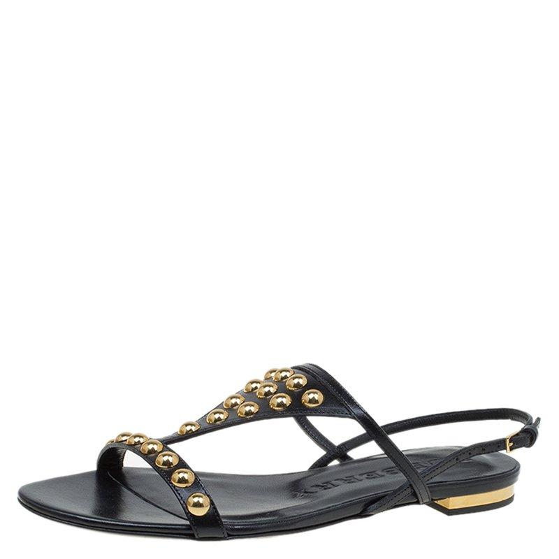 504532520a6 ... Burberry Black Bridle Studded Leather Parnell Sandals Size 37.  nextprev. prevnext
