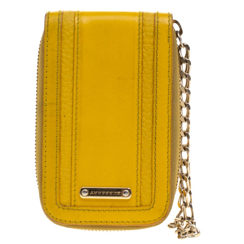 best website f894f 57190 Burberry Yellow Leather Wristlet IPhone 5 Case
