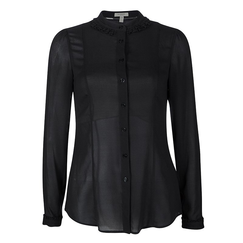 7ee0e0e7caa03f Buy Burberry London Black Silk Ruffle Trim Detail Long Sleeve Blouse ...
