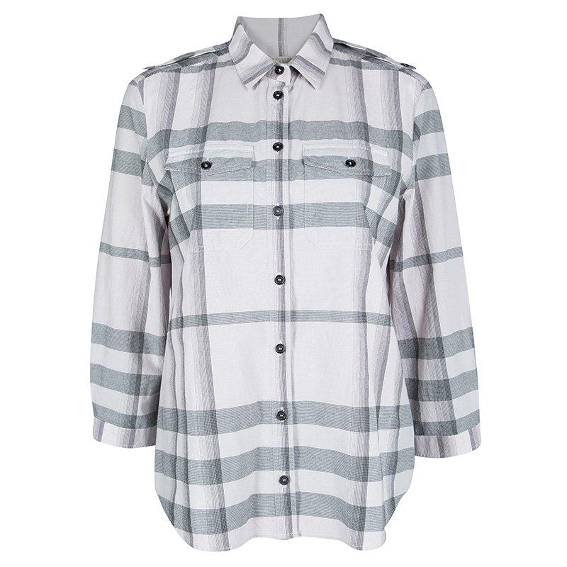 e66b2d6e ... Burberry Brit Pale Pink Checked Cotton Long Sleeve Button Front Shirt  M. nextprev. prevnext