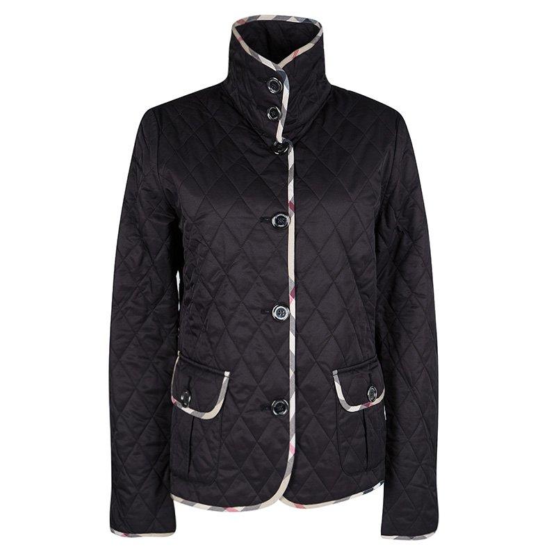 Burberry Brit Black Novacheck Trim Detail Diamond Quilted Jacket M