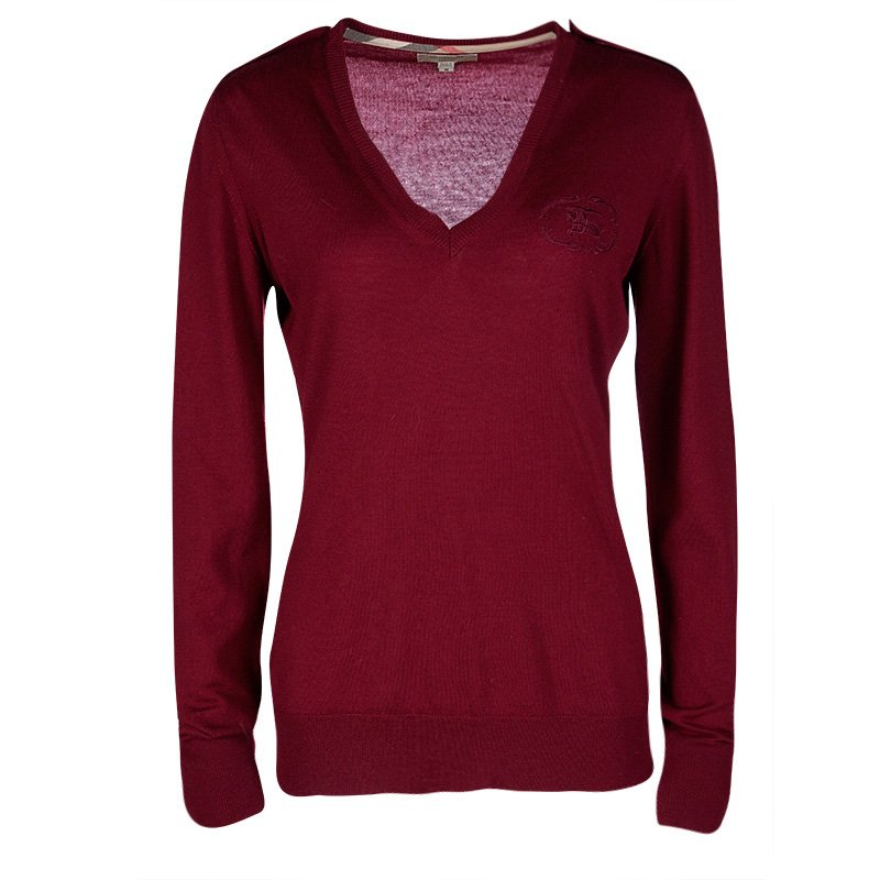 f70703796271 Buy Burberry London Maroon Merino Wool V-Neck Sweater M 106340 at ...