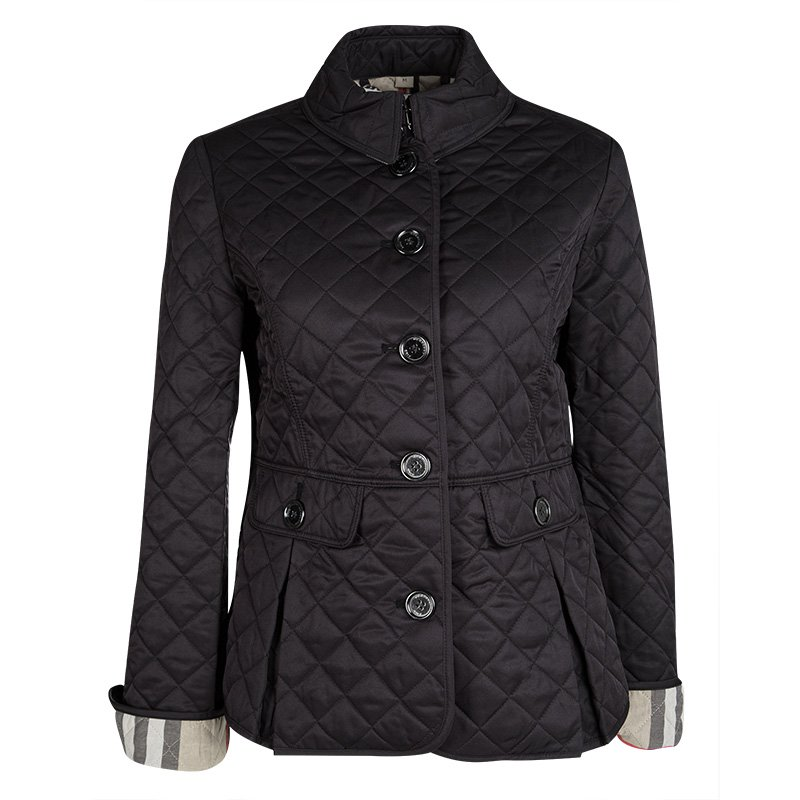 Burberry Brit Black Diamond Quilted Button Front Jacket M