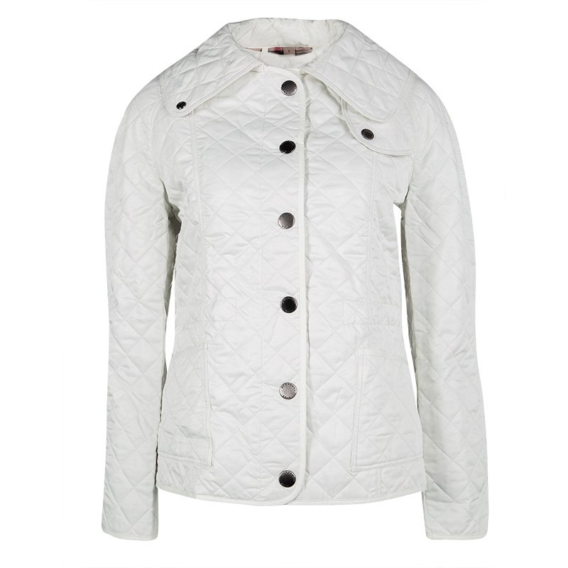 Burberry Brit Off White Diamond Quilted Button Front Jacket S