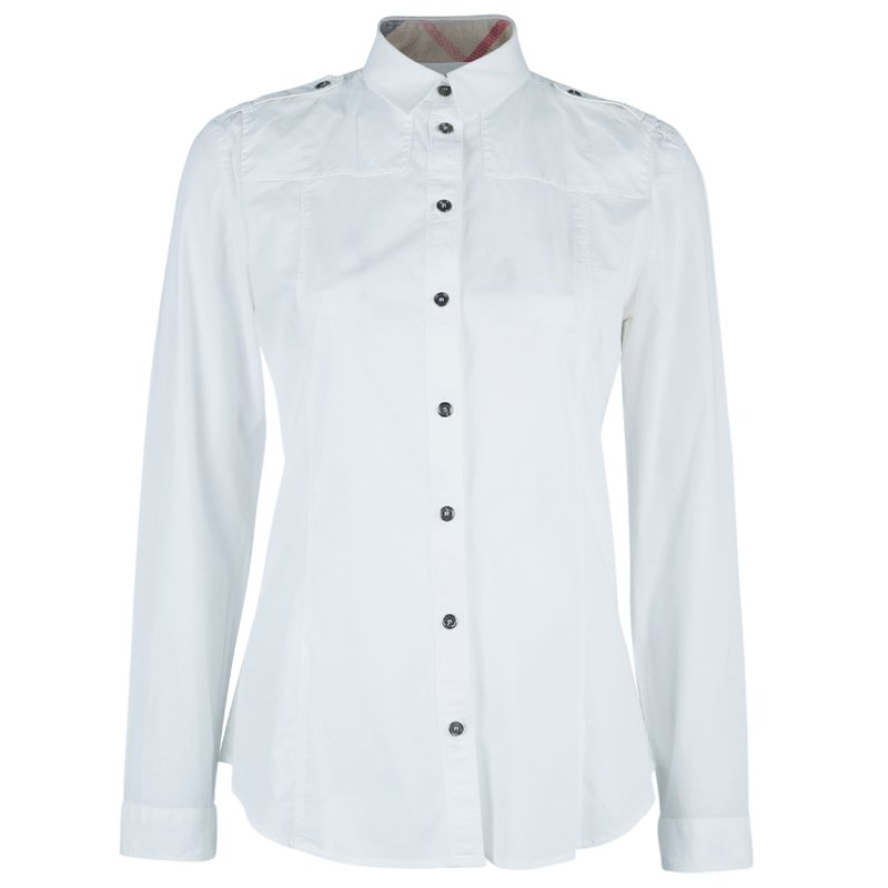 Burberry White Cotton Nova Check Cuff Shirt M