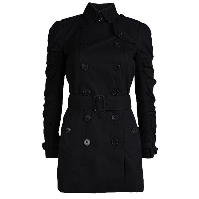 9143000fec2d Buy Burberry London Black Cotton Ruched Sleeve Detail Trench Coat S ...