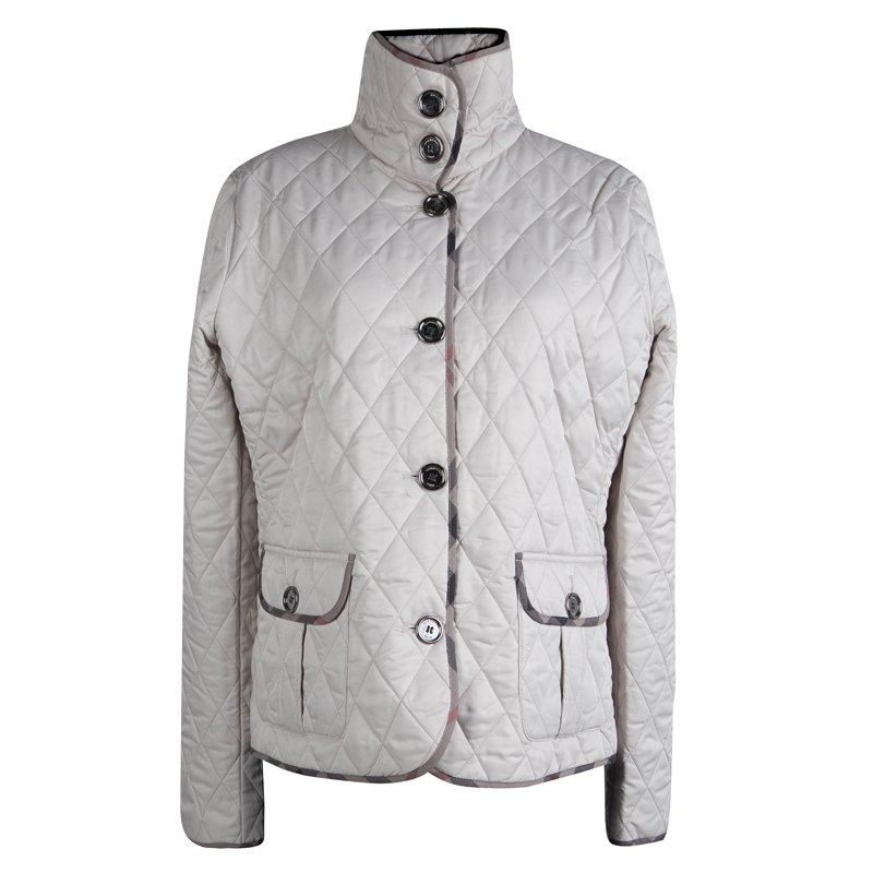 Burberry Brit Cream Diamond Quilted Jacket Xl