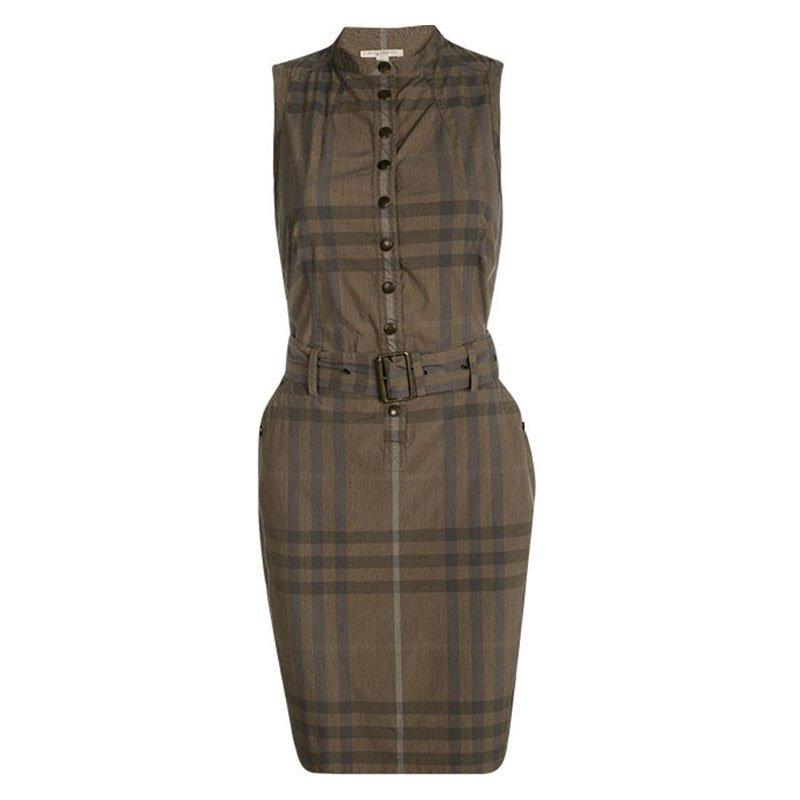 c3ae8d4c245 ... Burberry Brit Brown Checked Sleeveless Belted Shirt Dress S. nextprev.  prevnext