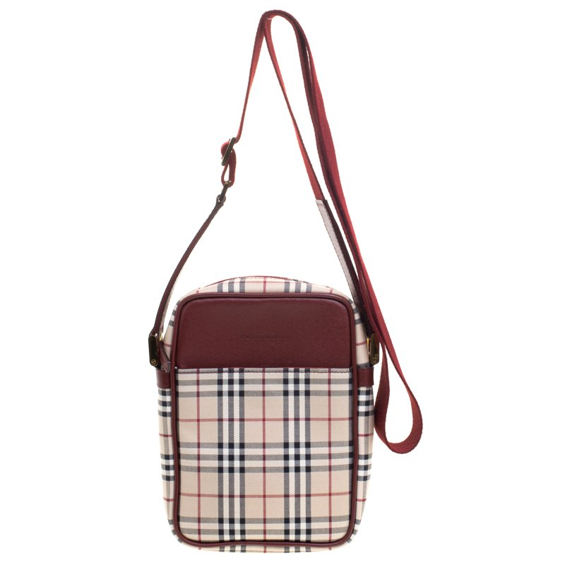 0ba25cb60a37 ... Burberry Burgundy House Check Fabric Crossbody Bag. nextprev. prevnext