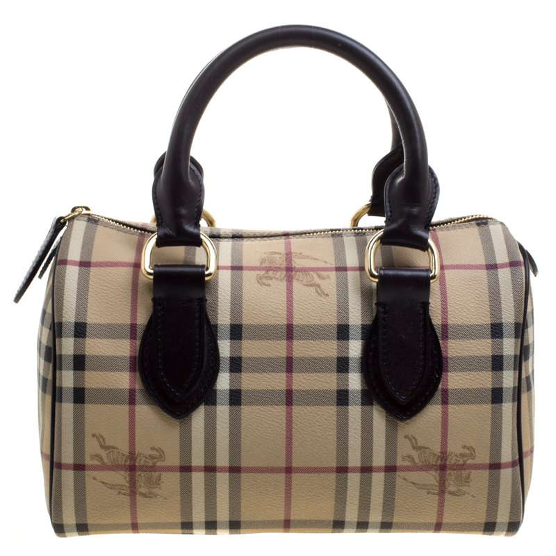 Burberry Choco Brown Haymarket Check PVC Chester Bowling Bag
