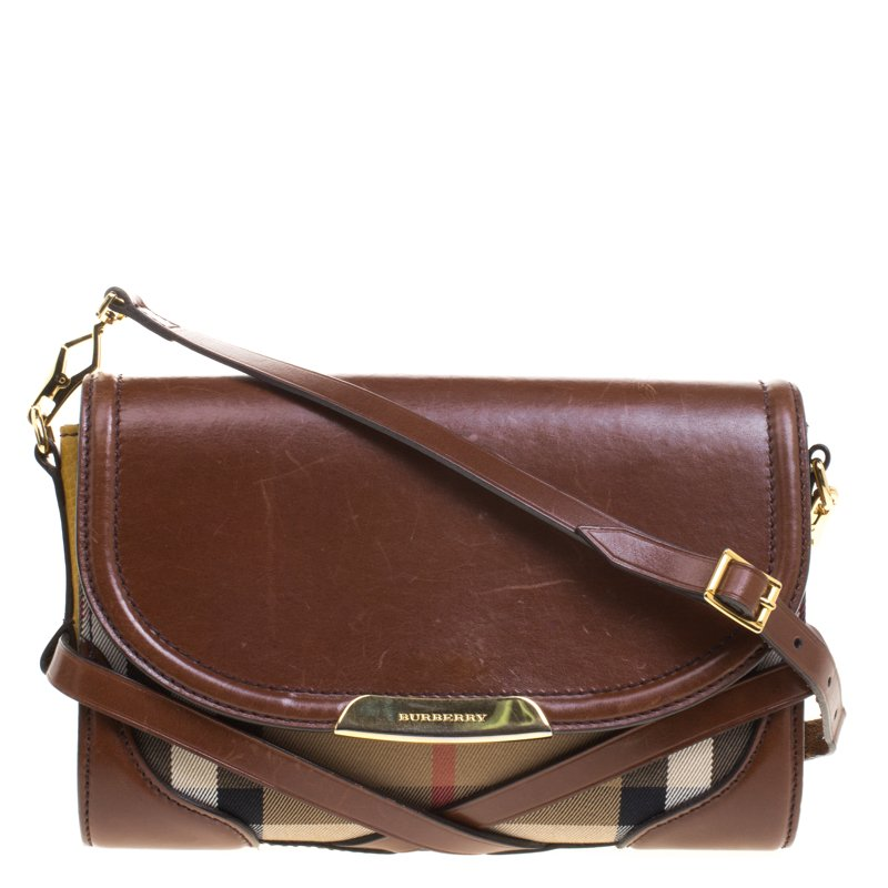 441109bcd345 Buy Burberry Brown Yellow Nova Check Fabric and Leather Abbott ...