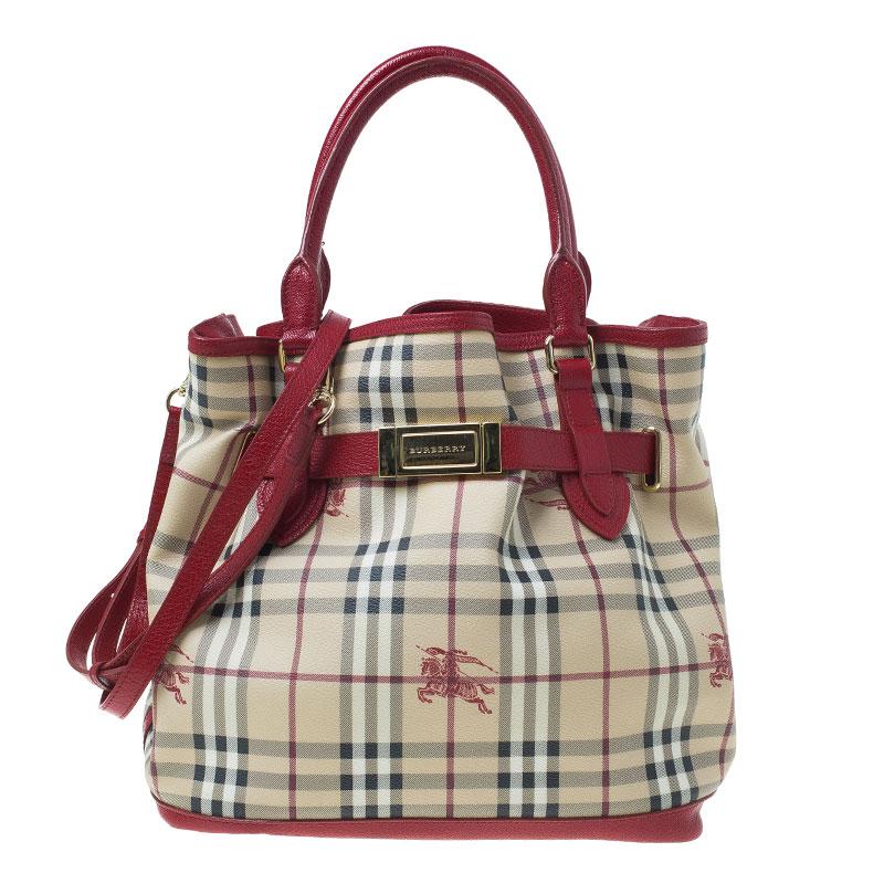 Buy Burberry Beige Red Haymarket Check Medium Goldertone Tote Bag ... f3b785aff2d1f