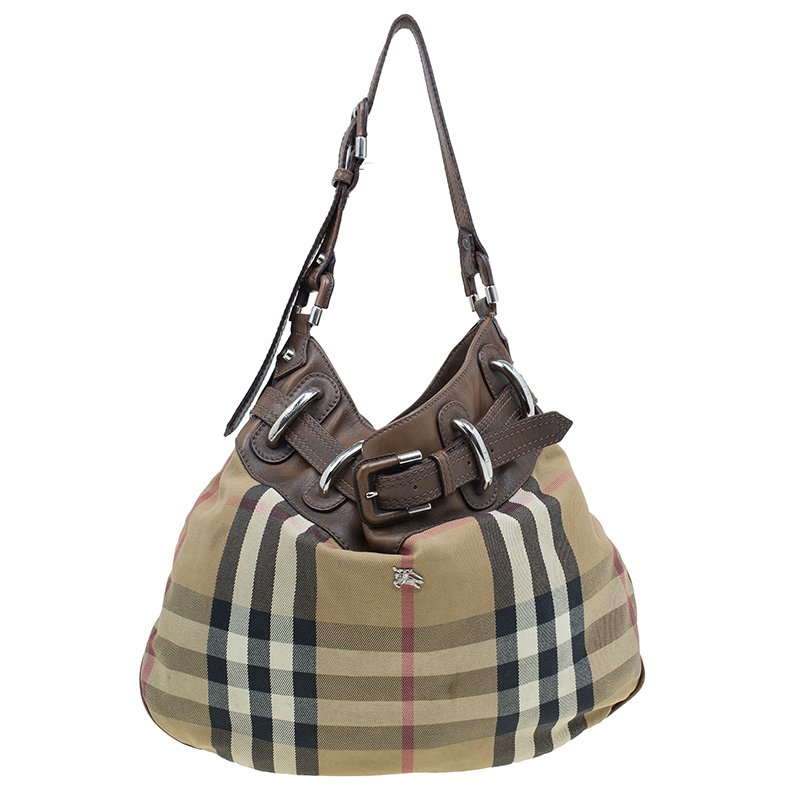 7ac2ef583286 ... Burberry Brown Fabric  Leather Briddle House Check Beaton Hobo Bag.  nextprev. prevnext