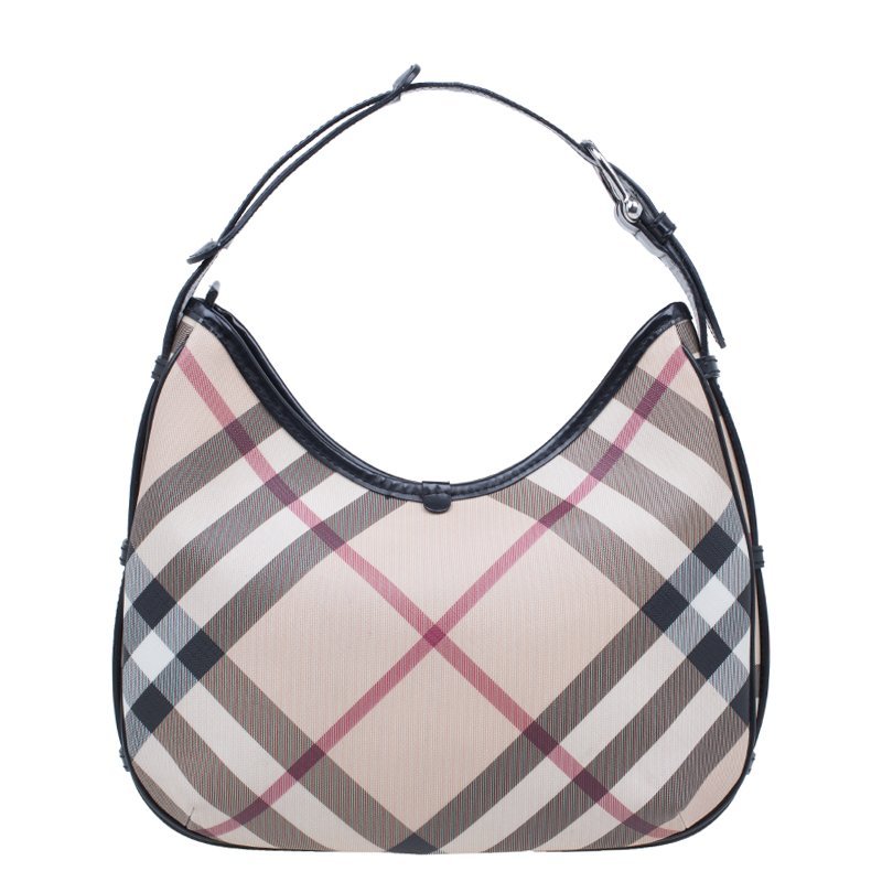 9203ea50315e ... Burberry Black Beige Nova Check Coated Canvas Small Barton Hobo Bag.  nextprev. prevnext
