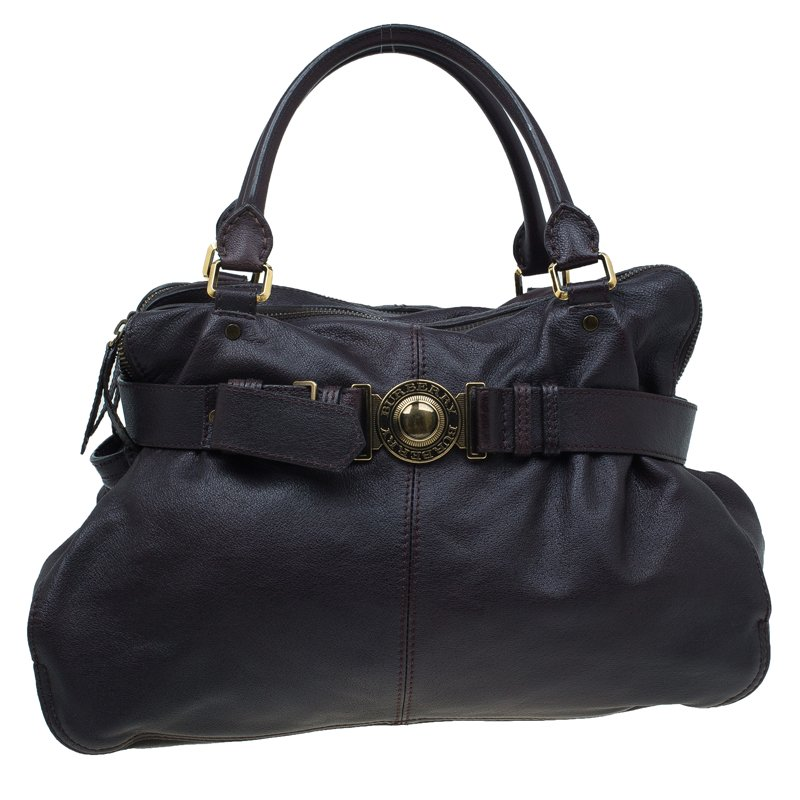 Buy Burberry Dark Brown Buffalo Leather Lambeth Tote 53769 at best ... 531ccbb1a0d32