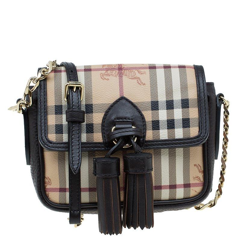 a2a930a5dd13 Buy Burberry Beige Black Classic Check Tassel Crossbody Bag 56854 at ...
