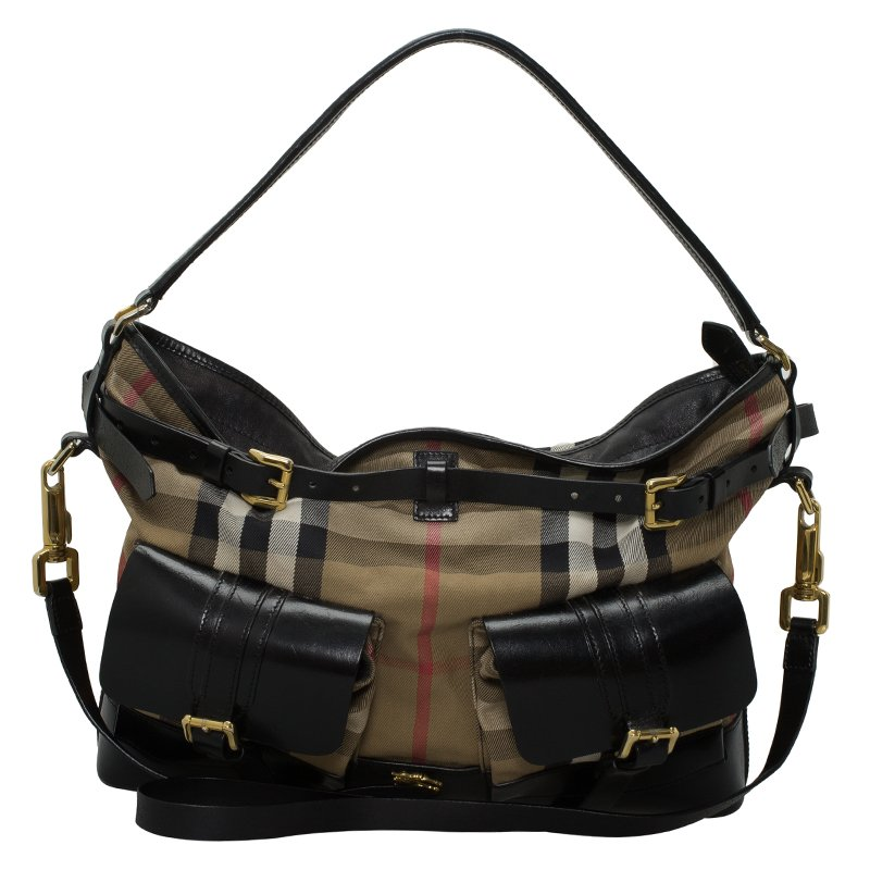 151d925bbf17 ... Burberry Black House Check Fabric and Leather Front Pocket Hobo.  nextprev. prevnext