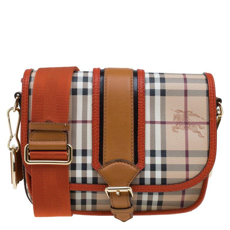 b828581bede ... Burberry Beige/Orange Classic Check Coated Canvas Messenger Bag.  nextprev. prevnext
