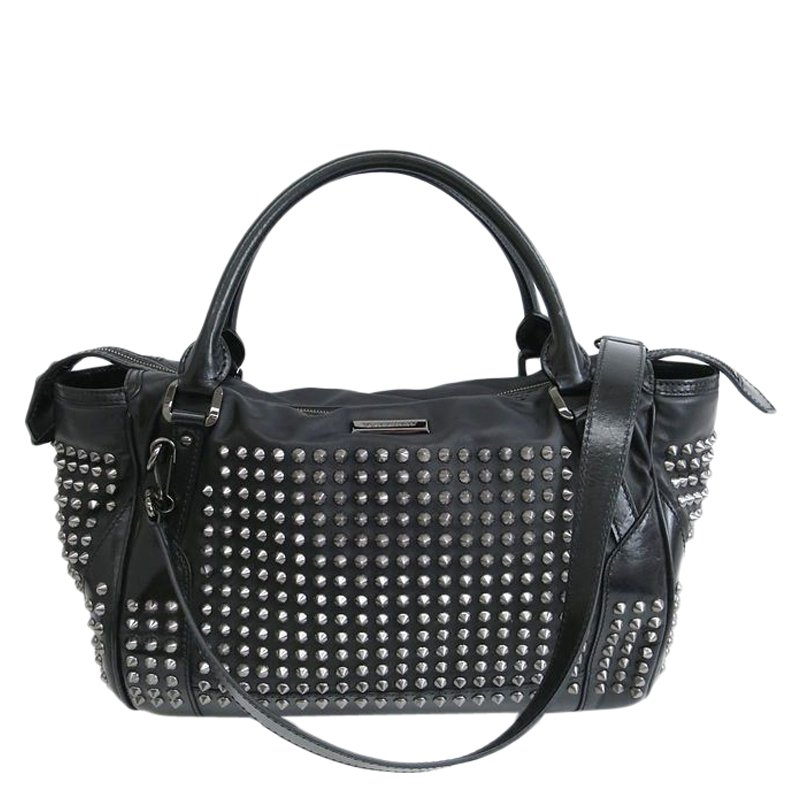 460a5d491d1 Buy Burberry Black Leather Studded Edenham Tote 60317 at best price ...