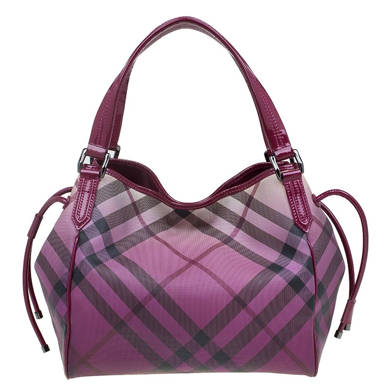 55ca3c083693 Buy Burberry Purple Ombre Nova Check Coated Canvas Bilmore Tote ...