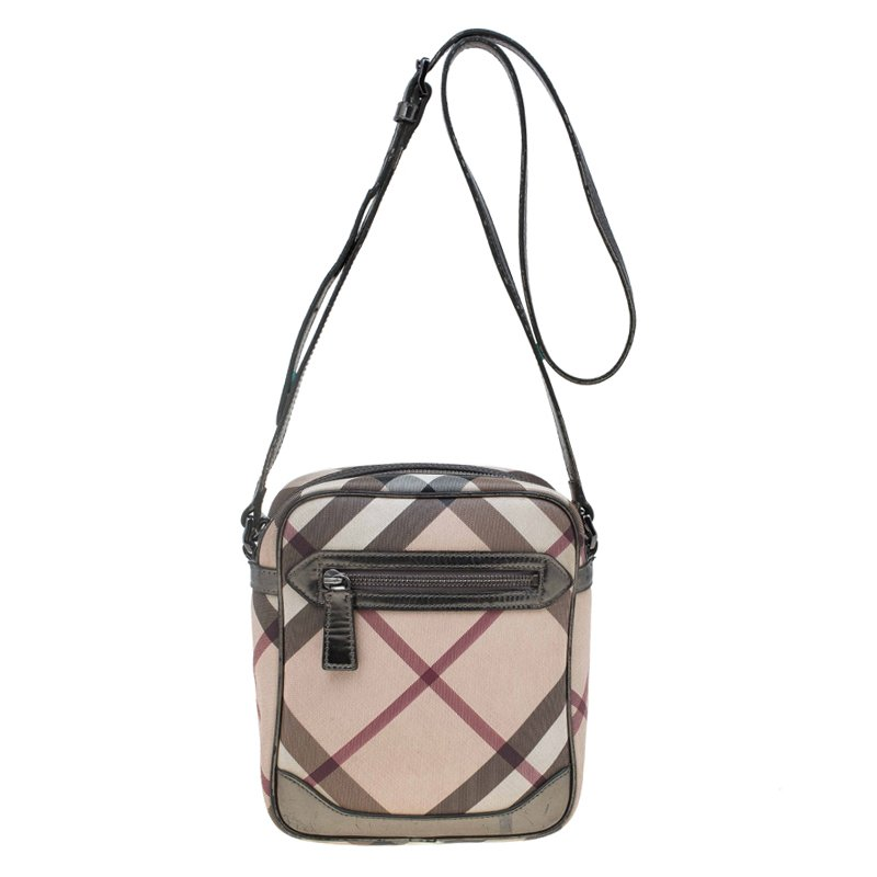 Burberry Beige/Bronze Nova Check Coated Canvas Crossbody Bag