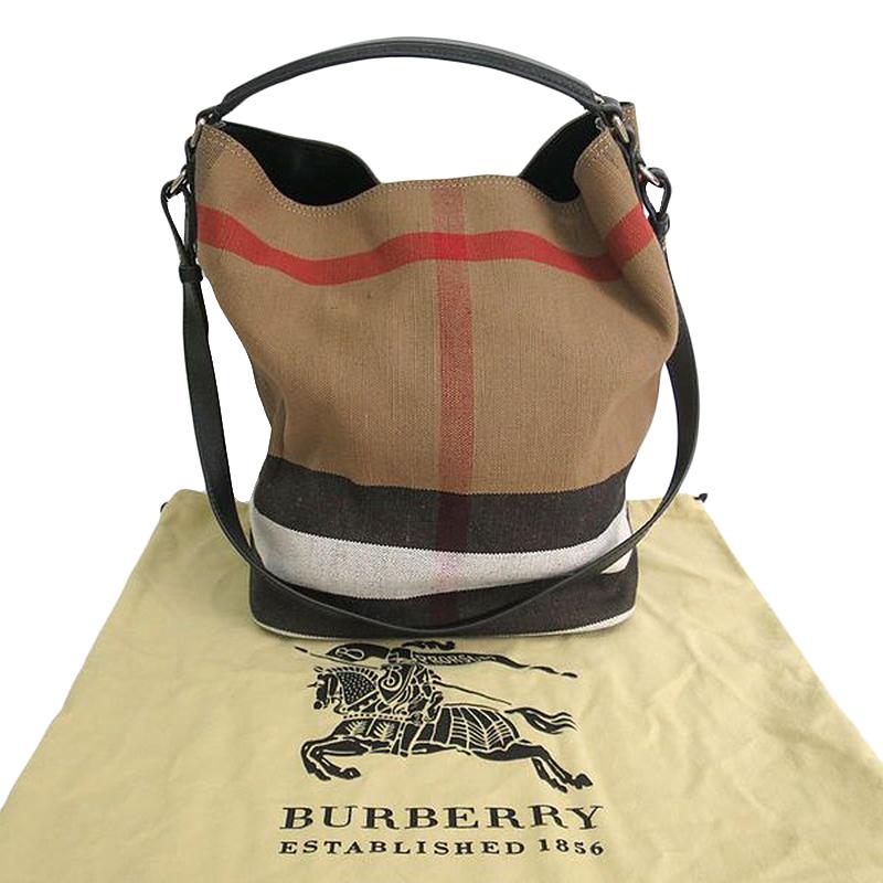 Burberry Black canvas and leather Medium Ashby Shoulder bag