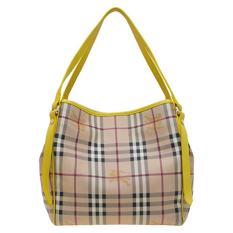 ffd1023d3b1 Buy Burberry Beige/Yellow Classic Check Coated Canvas Canterbury ...