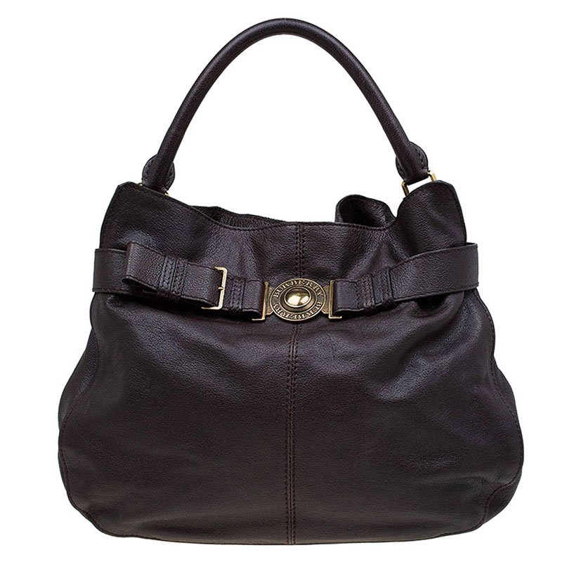0f6083f83c54 Buy Burberry Dark Brown Buffalo Leather Lambeth Hobo 77189 at best ...