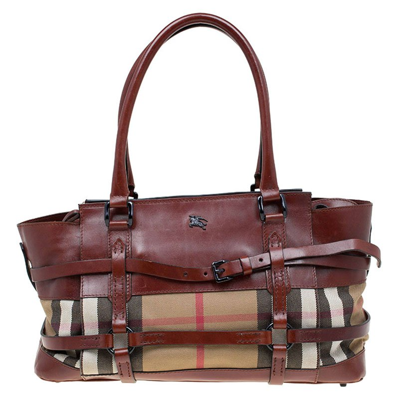 Buy Burberry Brown Leather Bridle House Check Canvas Satchel 77207 ... aafb8d62181fd